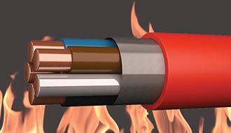Brandsikre kabler med rød yderkappe